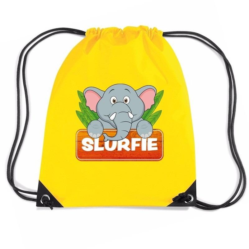 2a1a0d0eac0 Slurfie de Olifant rugtas / gymtas geel voor kinderen 7.95! Ik kies ...